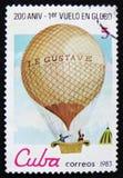 För den Montgolfier för shower för Kubaportostämpeln Le Gustave för ` ballongen `, serie`-tvåhundraårsdagen av 1st Manned ballong Arkivfoton