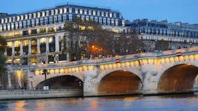 för den paris för france morgonneuf tagen pont bilden var stock video