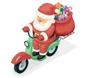 För den Santa Claus Delivery Courier Scooter Symbol för påsegåvaasken begreppet för symbolen asken isolerade den isometriska plan Arkivbilder