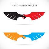 För designbegrepp för handskakning abstrakt mall Arkivbilder