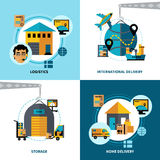 För designbegrepp för logistik 2x2 uppsättning Fotografering för Bildbyråer