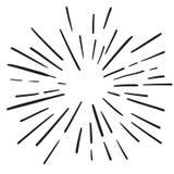 För designbeståndsdel för tappning hand drog strålar för fyrverkerier svarta stock illustrationer