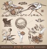 För designbeståndsdelar för baby shower antik uppsättning () Vektor Illustrationer