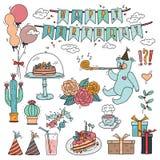 För designbeståndsdelar för lycklig födelsedag samling med teckningar för illustration för vektor för klotterstil färgrika Royaltyfri Bild
