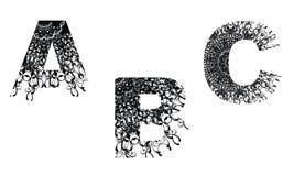 för designelement för b c textur för nummer blom- stock illustrationer