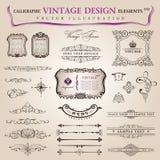 För designelement för vektor set calligraphic garnering Arkivbild