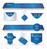 för designförsäljning för baner blå website för rengöringsduk Arkivfoton
