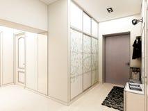 för designkorridor för korridor 3d framför inre moderna Arkivfoto