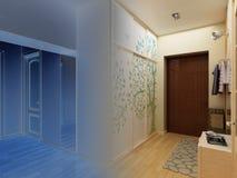 för designkorridor för korridor 3d framför inre moderna Royaltyfri Foto