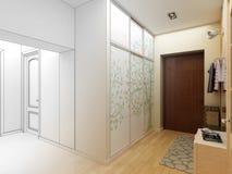 för designkorridor för korridor 3d framför inre moderna Arkivbild