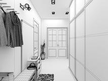 för designkorridor för korridor 3d framför inre moderna Arkivfoton