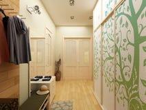 för designkorridor för korridor 3d framför inre moderna Arkivbilder