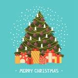 För designkort för glad jul mall vektor Royaltyfria Bilder