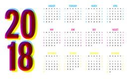 För designmall för 2018 kalender illustration för vektor Royaltyfri Foto