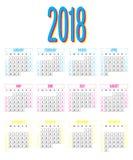 För designmall för 2018 kalender illustration för vektor Arkivbilder
