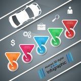 För för designmall och marknadsföring för väg infographic symboler bil Arkivbilder
