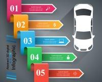 För för designmall och marknadsföring för väg infographic symboler för symbolsillustration för bil eps10 vektor Royaltyfria Bilder