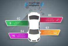 För för designmall och marknadsföring för väg infographic symboler för symbolsillustration för bil eps10 vektor Royaltyfri Fotografi