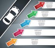 För för designmall och marknadsföring för väg infographic symboler för symbolsillustration för bil eps10 vektor Arkivbild