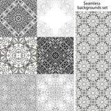 för designprövkopia för 11 bakgrund seamless set dig Geometriska texturer för tappning Snöra åt modellen Dekorativ bakgrund för k Royaltyfri Foto
