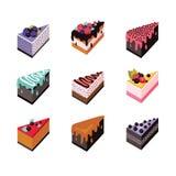 För designrengöringsduk för kaka läcker efterrätt för fastställd isometrisk plan samling för symbol vektor illustrationer
