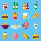 För designsymboler för snabbmat färgrik plan uppsättning mallbeståndsdelar för rengöringsduk- och mobilapplikationer Royaltyfri Foto