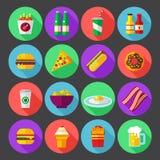 För designsymboler för snabbmat färgrik plan uppsättning mallbeståndsdelar för rengöringsduk- och mobilapplikationer Royaltyfria Foton