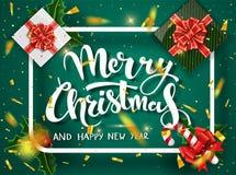 För designvektor för jul grön mall Calligraphic märka dekorerat för glad jul Julaffischmall stock illustrationer