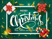 För designvektor för jul grön mall Calligraphic märka dekorerat för glad jul Julaffischmall vektor illustrationer