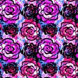 För det sömlösa modellen för färgpulver handhantverket för blommor steg den uttrycksfulla vektor illustrationer