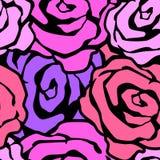 För det sömlösa modellen för färgpulver handhantverket för blommor steg den uttrycksfulla stock illustrationer