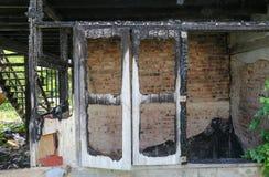 För detaljbild för hem- brand brandkatastrof Royaltyfri Fotografi