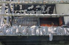 För detaljbild för hem- brand brandkatastrof royaltyfri foto