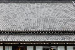 För detaljtak för slut daterar övre tegelplattor av stil för arkitektur för den Edo perioden med sidor mindre träd i Noboribetsu  Arkivbilder