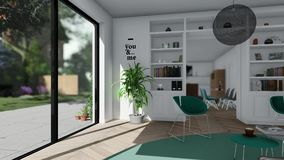 För diagramanimering för modernt hus inre bakgrund stock illustrationer