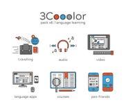 För diagramspråk för färg tre uppsättning för symbol för lära av sex objekt stock illustrationer