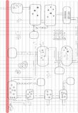 För diagramteckning för abstrakt flaska kemisk student Arkivfoto