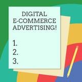 För Digital E för ordhandstiltext annonsering kommers Affärsidé för handel av varor och tjänst genom att använda rengöringsdukbun royaltyfri illustrationer
