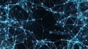 För Digital för abstrakt rörelsebakgrund nätverk för data binära Plexus Alpha Matte Loop lager videofilmer