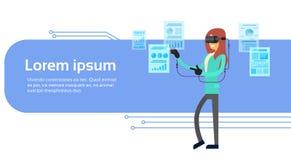 För Digital för virtuell verklighet för affärskvinnakläder baner för diagram för graf för finans för handskar för hörlurar med mi stock illustrationer