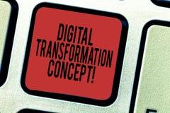 För Digital för ordhandstiltext begrepp omformning Affärsidé för gående paperless bruk av digital teknologi royaltyfri bild