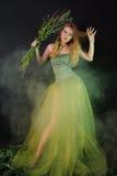 för dimmaflicka för klänning fantastisk green long Royaltyfri Bild