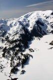 för dimmiga nationellt snöig monumentberg för fjords royaltyfria bilder