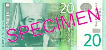 för dinaranmärkning för 20 serb avers fotografering för bildbyråer