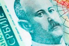 För dinaravaluta för serb 500 sedel, slut upp Serbien pengar RSD fotografering för bildbyråer