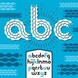 För diskoalfabet för vektor små moderna bokstäver, abc-uppsättning Rounde Royaltyfri Foto