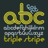 För diskoalfabet för vektor små skraj bokstäver, abc-uppsättning Moderiktigt F Arkivbilder