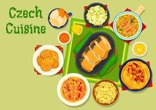För disksymbol för tjeckisk kokkonst traditionell design vektor illustrationer