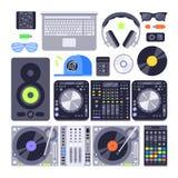 För dj-musik för vektor fastställd olik stiliserad kontroll för diskett för volym för skivtallrik för nattklubb för symbol för ut Arkivfoto