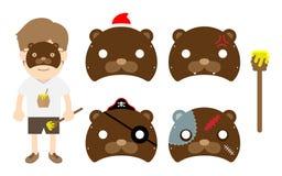 För djurlivmaskering för pojke djur uppsättning för parti för infall för dräkt, illustration för björnbegreppsdesign vektor illustrationer